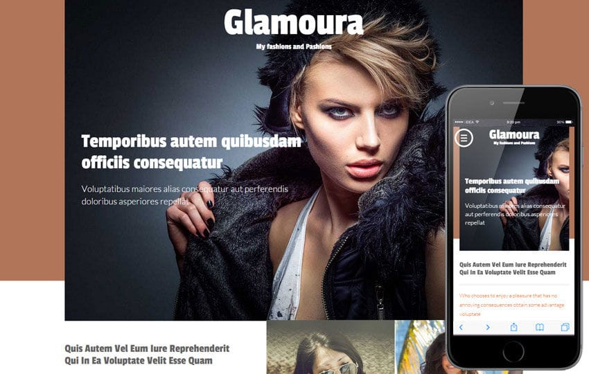 Glamoura a Fashion Category Flat Bootstrap Responsive Web Template Mobile website template Free