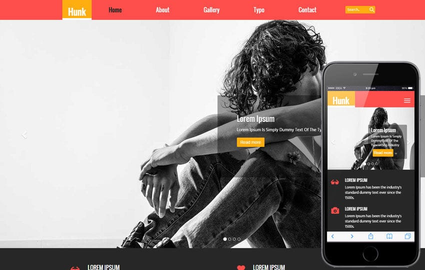 Hunk a Fashion Category Flat Bootstrap Responsive Web Template Mobile website template Free