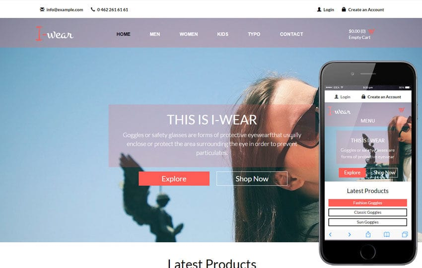 I Wear A Flat Ecommerce Bootstrap Responsive Web Template By Wlayouts - Create web page template