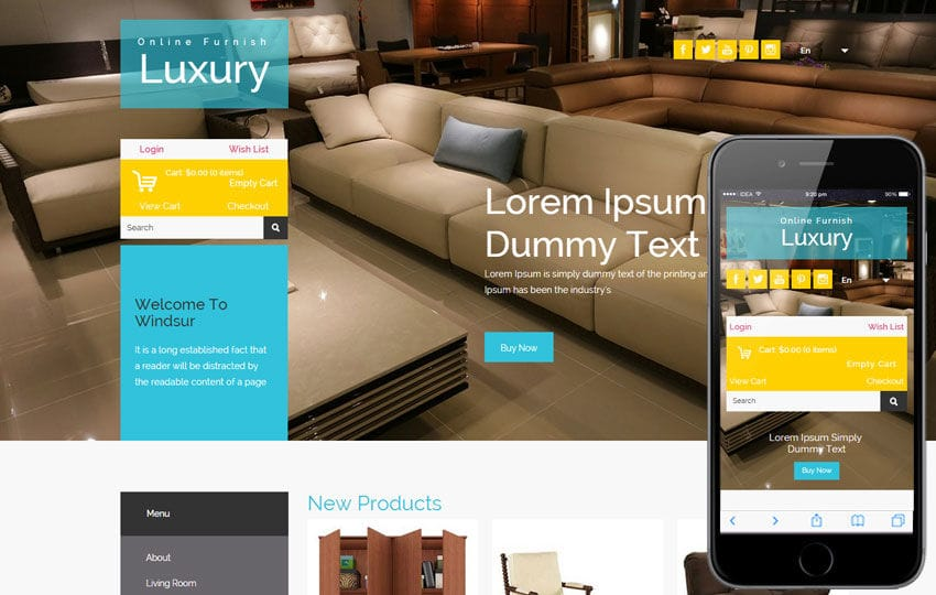 Luxury Furnish a Flat Ecommerce Bootstrap Responsive Web Template Mobile website template Free