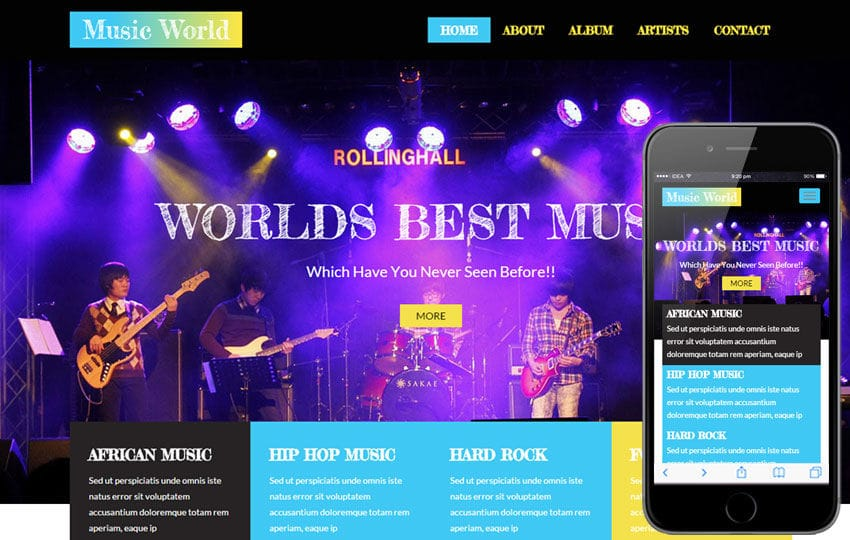 Music World A Entertainment Category Flat Bootstrap Responsive Web - Music website templates
