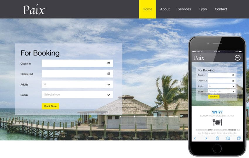 Paix a Hotel Category Flat Bootstrap Responsive Web Template