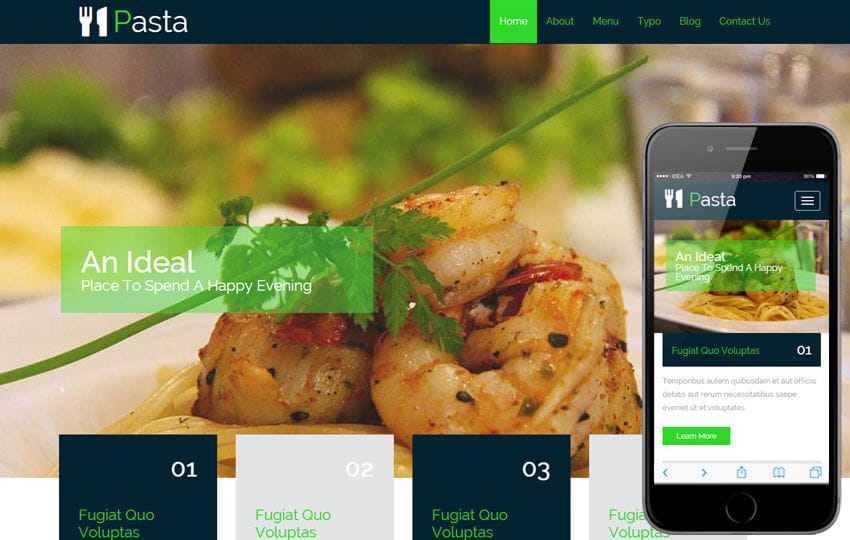 Pasta a Hotel Category Flat Bootstrap Responsive Web Template Mobile website template Free