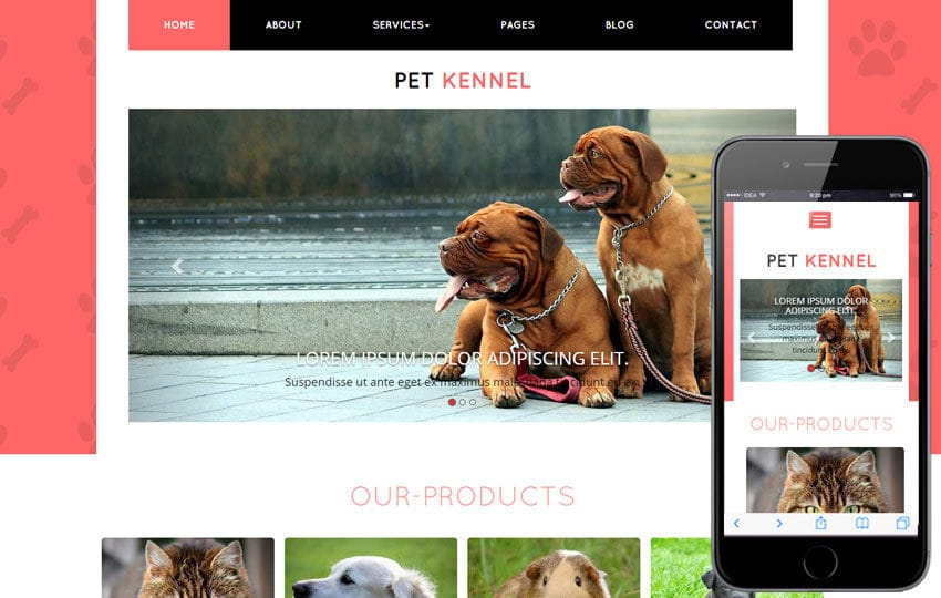 Pet Kennel a Animal Category Flat Bootstrap Responsive Web Template Mobile website template Free