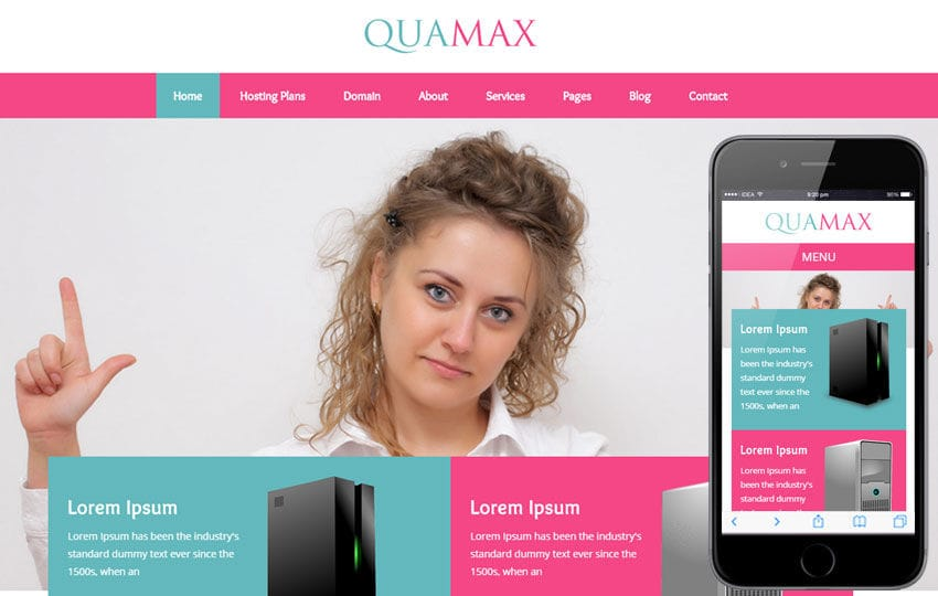 Quamax a Web Hosting Flat Bootstrap Responsive Web Template Mobile website template Free