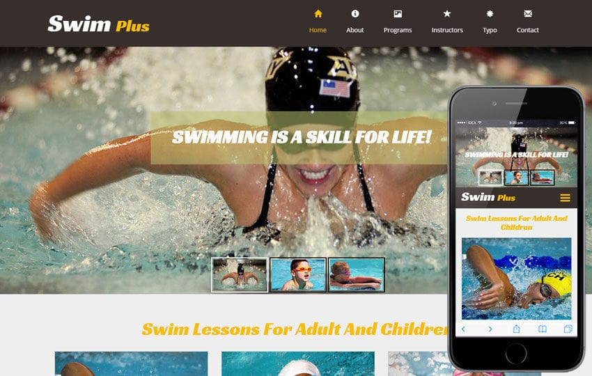 Swim Plus a Sports Category Flat Bootstrap Responsive Web Template Mobile website template Free