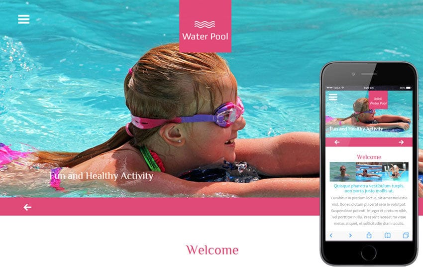 Water Pool a Sports Category Flat Bootstrap Responsive Web Template Mobile website template Free