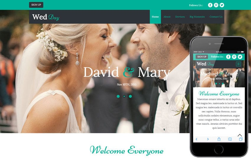 Wed Day a Wedding Planner Flat Bootstrap Responsive Web Template ...