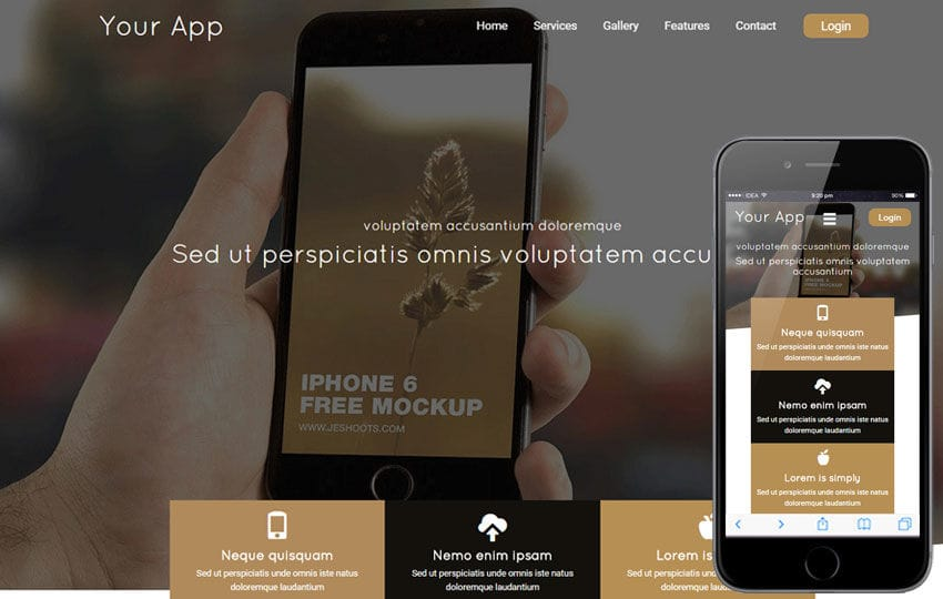Your App a Mobile App based Flat Bootstrap Responsive Web Template Mobile website template Free