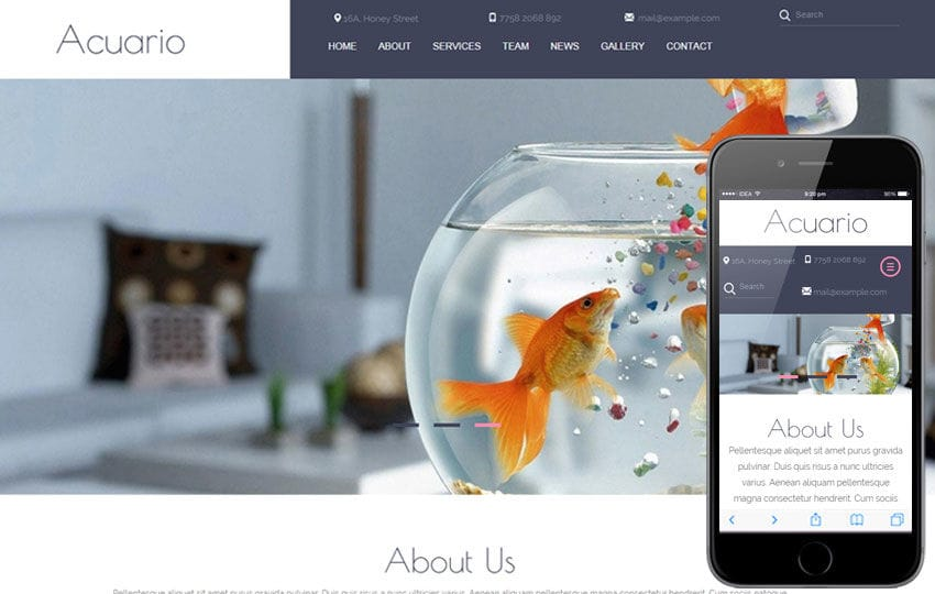 Acuario a Animal Category Flat Bootstrap Responsive web template Mobile website template Free