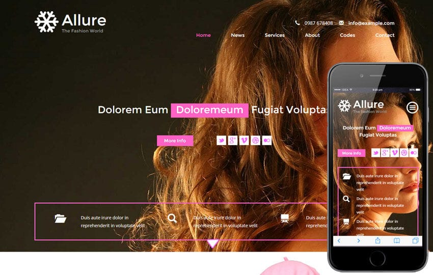 Allure a Fashion Category Flat Bootstrap Responsive Web Template Mobile website template Free