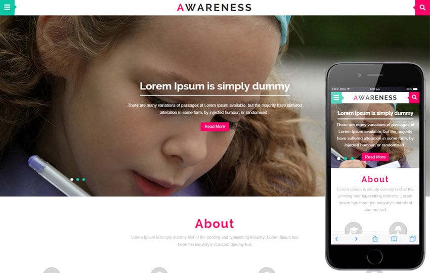 Awareness a Educational Category Flat Bootstrap Responsive web template Mobile website template Free