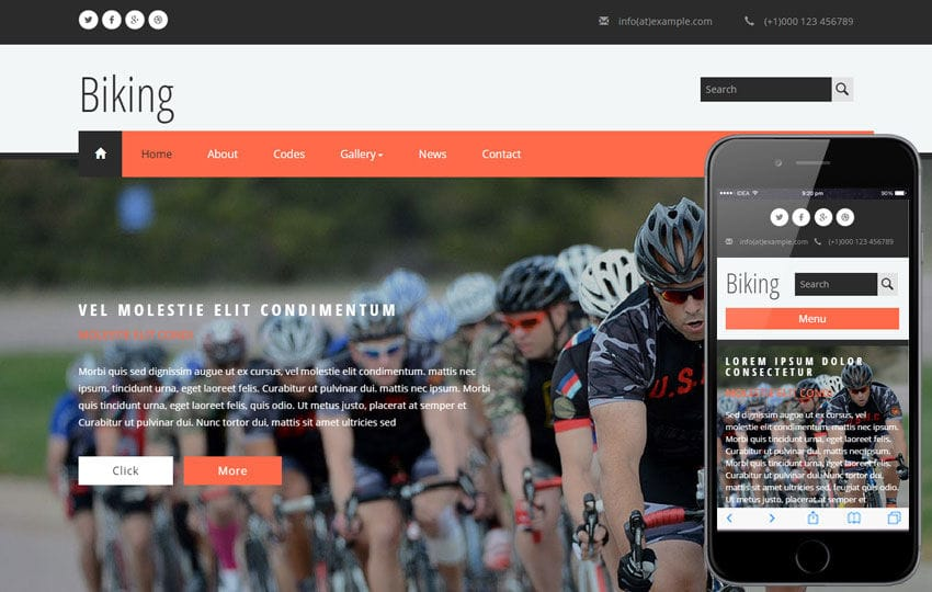 Biking a Sports Category Flat Bootstrap Responsive Web Template Mobile website template Free