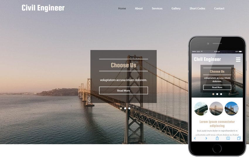 civil engineer a industrial category flat bootstrap responsive web