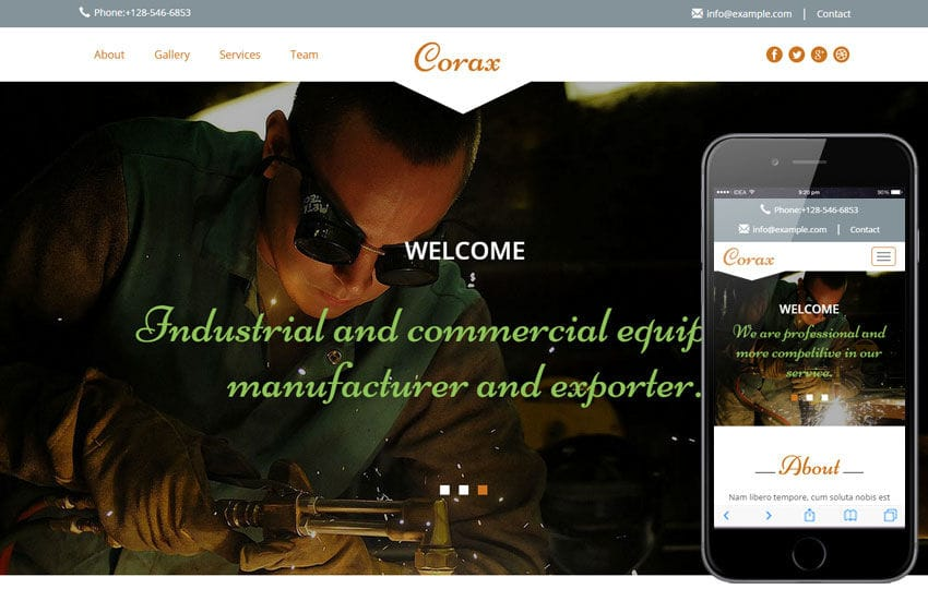 Corax a Industrial Category Flat Bootstrap Responsive Web Template Mobile website template Free