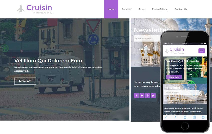 Cruisin a Travel Agency Flat Bootstrap Responsive web template Mobile website template Free