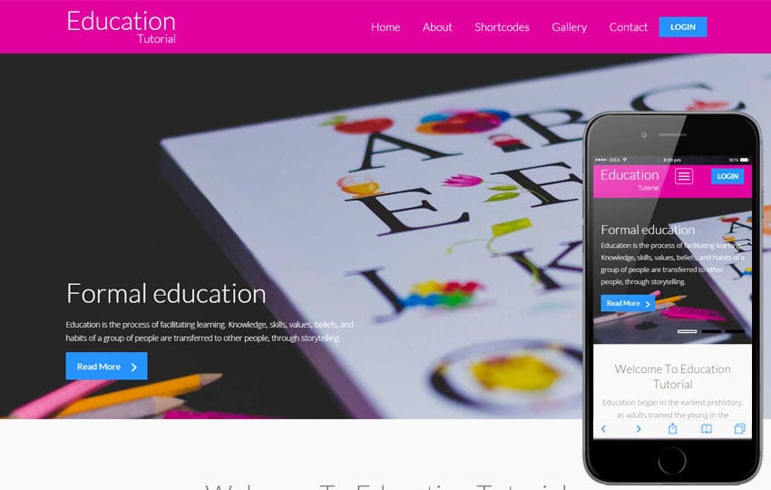 Education Tutorial a Educational Category Flat Bootstrap Responsive web template Mobile website template Free
