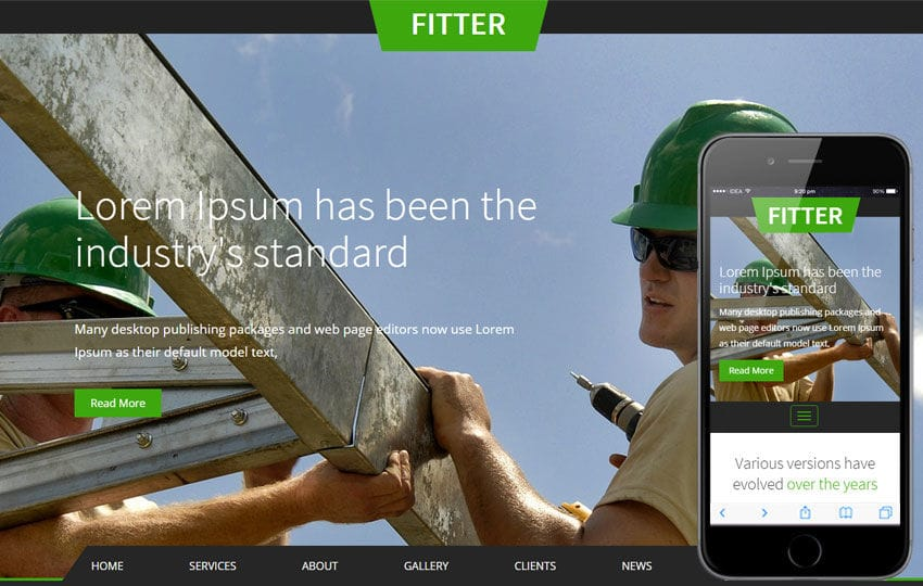 Fitter a Industrial Category Flat Bootstrap Responsive Web Template Mobile website template Free