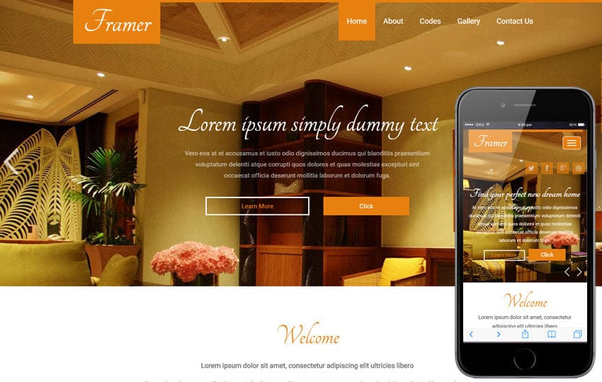 Framer A Interior Architects Multipurpose Flat Bootstrap Responsive Web  Template