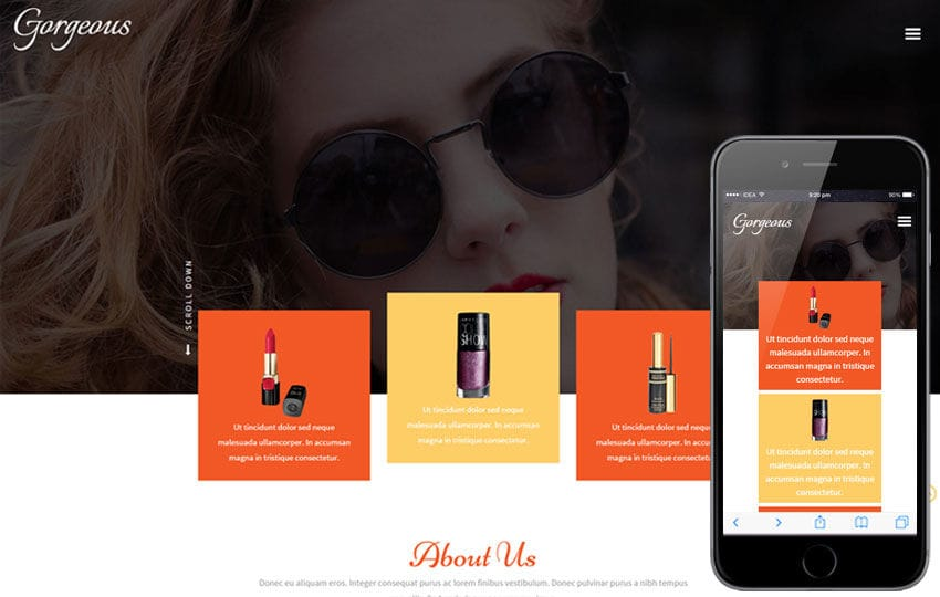 Gorgeous a Fashion Category Flat Bootstrap Responsive Web Template Mobile website template Free