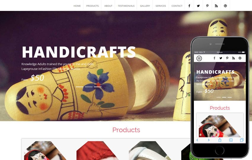 Handicraft a Industrial Category Flat Bootstrap Responsive Web Template Mobile website template Free