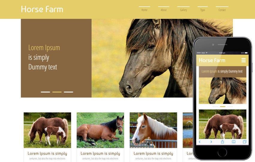 Horse Farm a Animals Category Flat Bootstrap Responsive Web Template Mobile website template Free