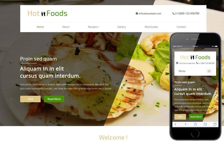 foods website templates