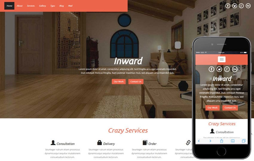 Inward a Interior Architects Multipurpose Flat Bootstrap Responsive Web Template Mobile website template Free