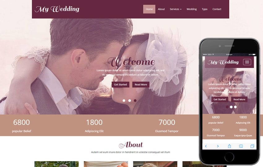 Wedding Planning Websites.My Wedding A Wedding Planner Flat Bootstrap Responsive Web