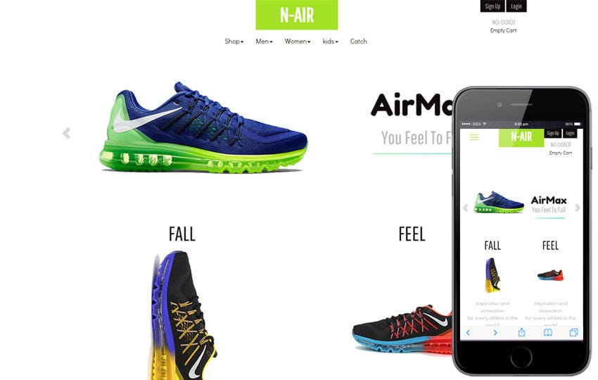N Air a Flat Ecommerce Bootstrap Responsive Web Template Mobile website template Free