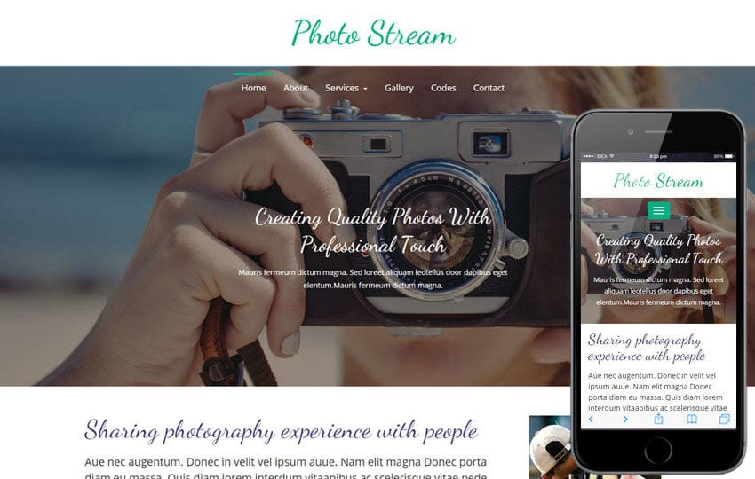 Photo Stream a Photo gallery Flat Bootstrap Responsive Web Template Mobile website template Free
