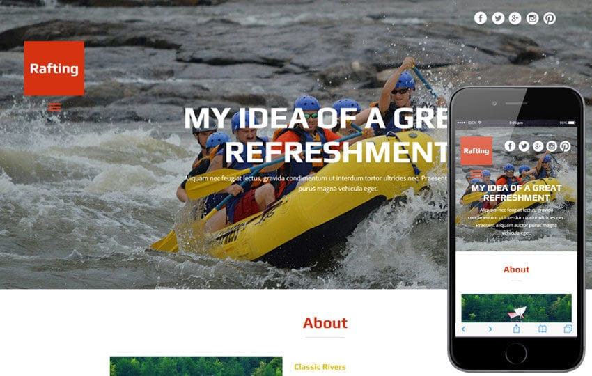 Rafting a Water Sports Category Flat Bootstrap Responsive Web Template Mobile website template Free