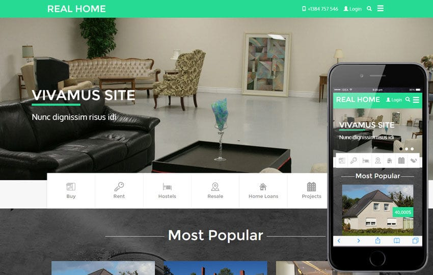 Real Home A Real Estate Category Flat Bootstrap Responsive Web - Website template builder