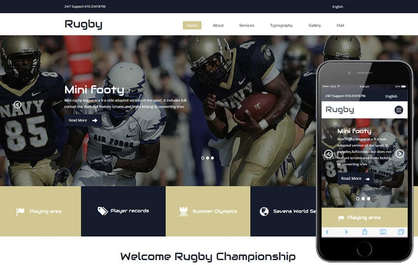 Rugby a Sports Category Flat Bootstrap Responsive Web Template Mobile website template Free
