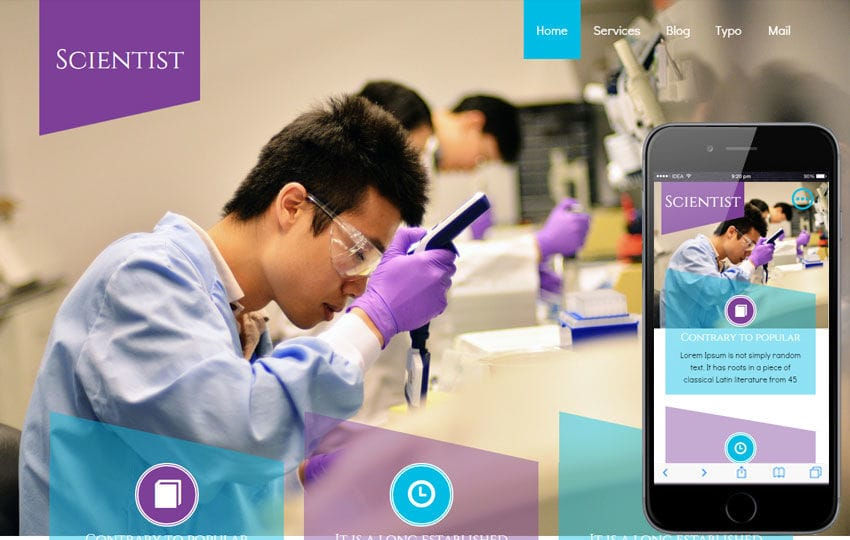 Scientist a Medical Category Flat Bootstrap Responsive Web Template Mobile website template Free