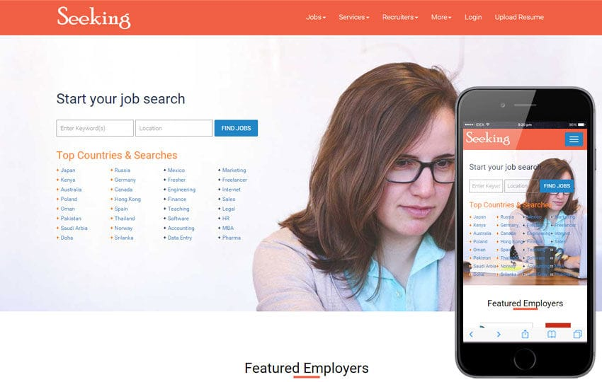 seeking a corporate job portal flat bootstrap responsive web template