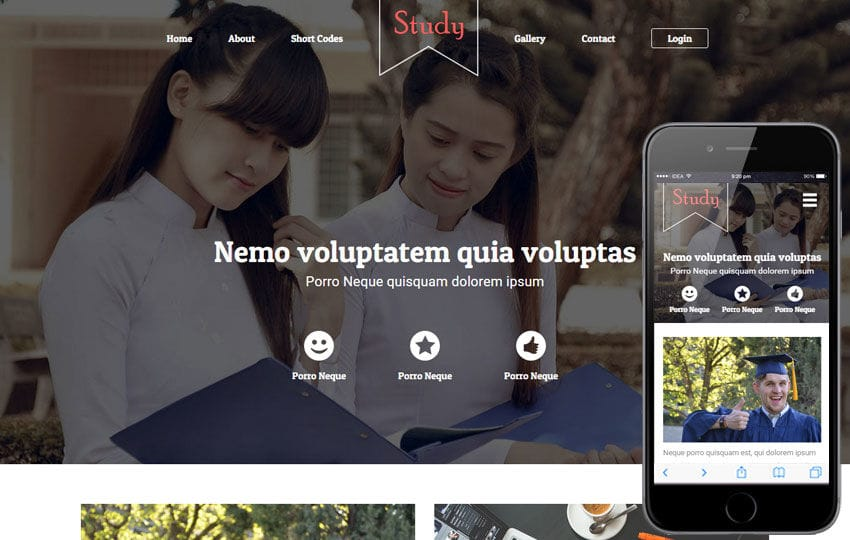 Study a Educational Category Flat Bootstrap Responsive web template Mobile website template Free