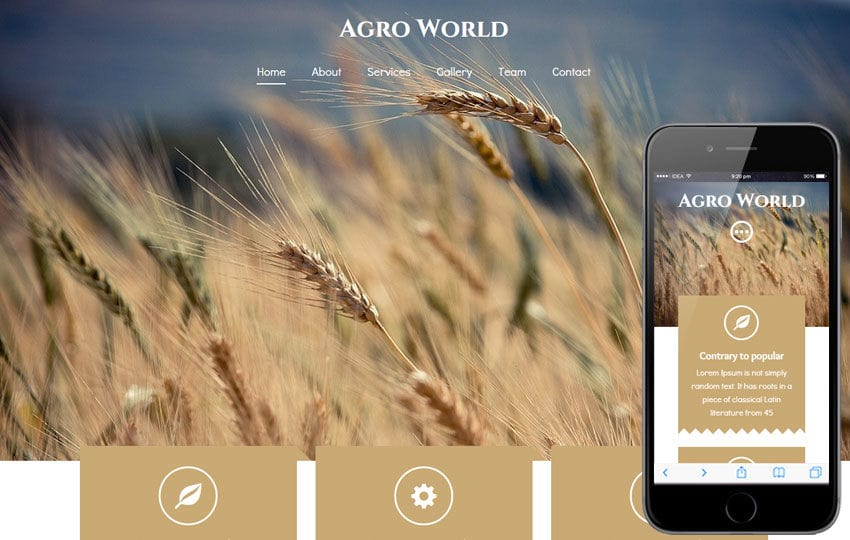 Agro World a Agriculture Category Flat Bootstrap Responsive Web Template Mobile website template Free