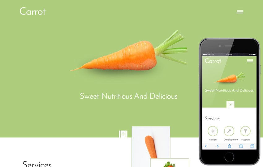 Carrot a Food Category Flat Bootstrap Responsive Web Template Mobile website template Free
