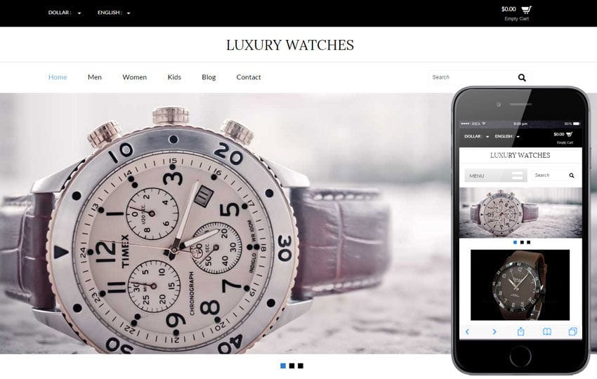 Luxury Watches a Flat Ecommerce Bootstrap Responsive Web Template Mobile website template Free