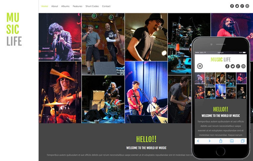 Music Life a Entertainment Category Flat Bootstrap Responsive web template Mobile website template Free