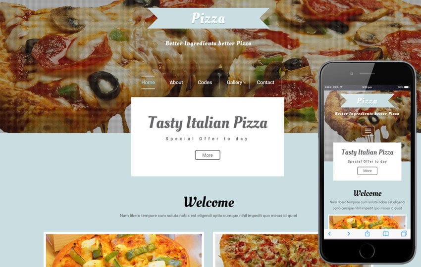 Pizza a Hotel Category Flat Bootstrap Responsive Web Template Mobile website template Free