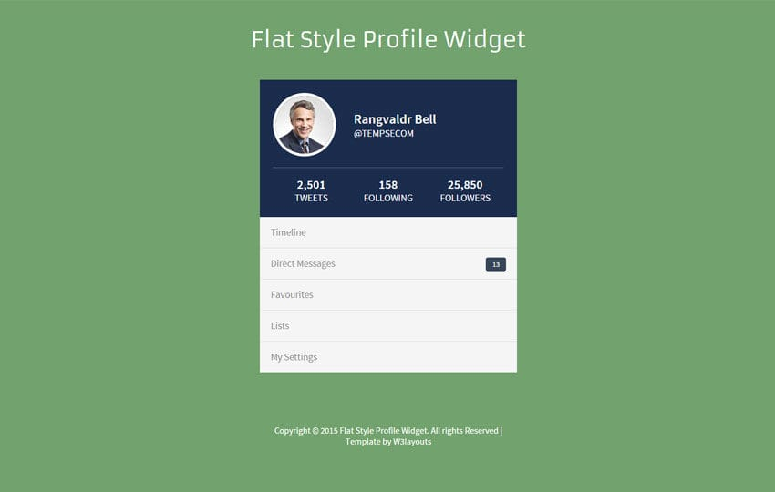Awesome Flat Style Profile Responsive Widget Template Inside Profile Templates
