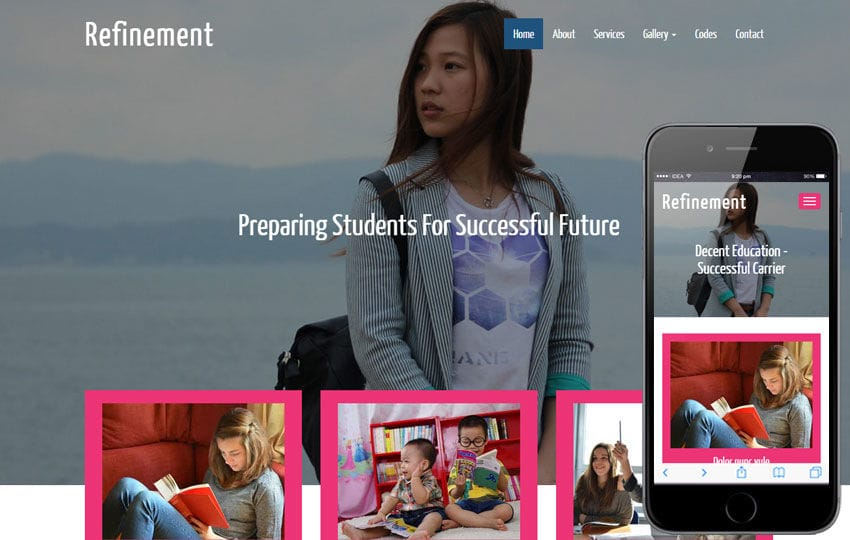 Refinement a Educational Category Flat Bootstrap Responsive web template Mobile website template Free