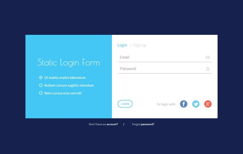 Static Login Form Responsive Widget Template By W3layouts
