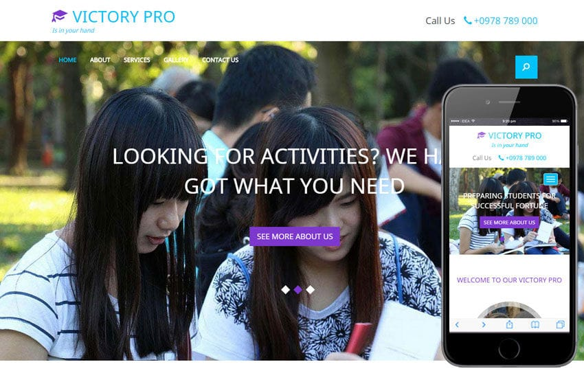 Victory Pro a Educational Category Flat Bootstrap Responsive web template Mobile website template Free