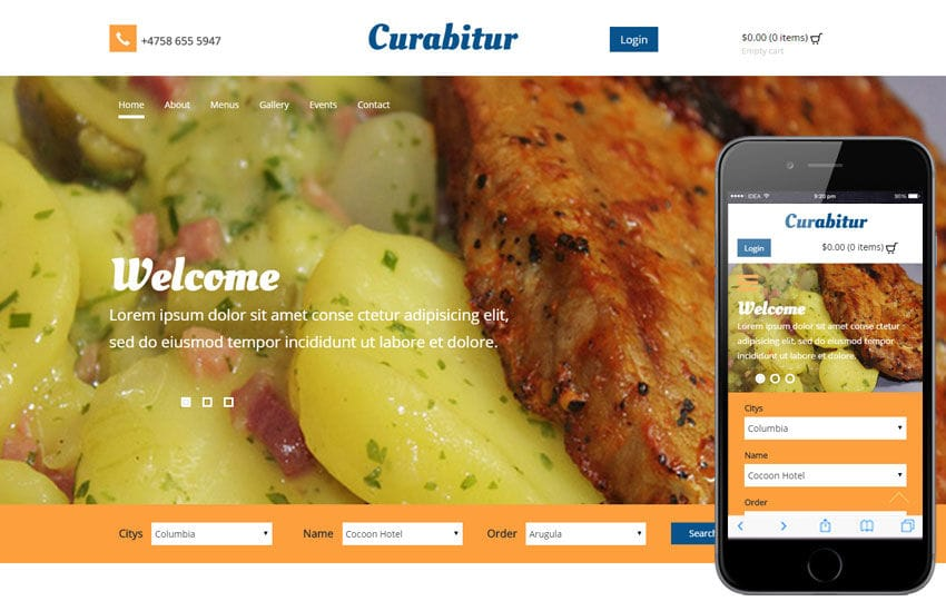 Curabitur a Hotel Category Flat Bootstrap Responsive Web Template Mobile website template Free