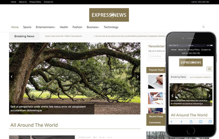 express news a entertainment category flat bootstrap responsive web