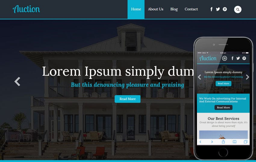 Auction a Real Estate Category Flat Bootstrap Responsive Web Template Mobile website template Free