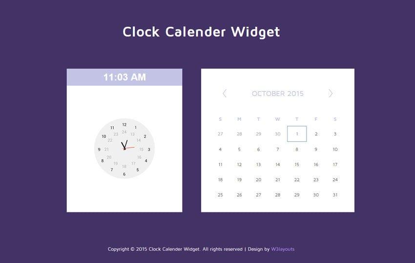 clock calendar responsive widget template by w3layouts